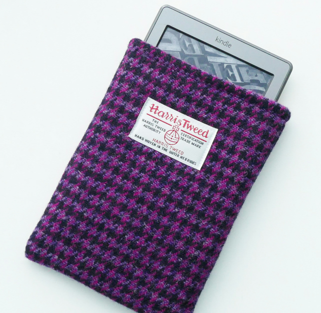 Kindle Paperwhite sleeve in pink and purple HARRIS TWEED