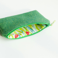 Small green HARRIS TWEED makeup bag, great gift for women