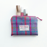 Jade and cerise tartan makeup bag, HARRIS TWEED, small wool pouch
