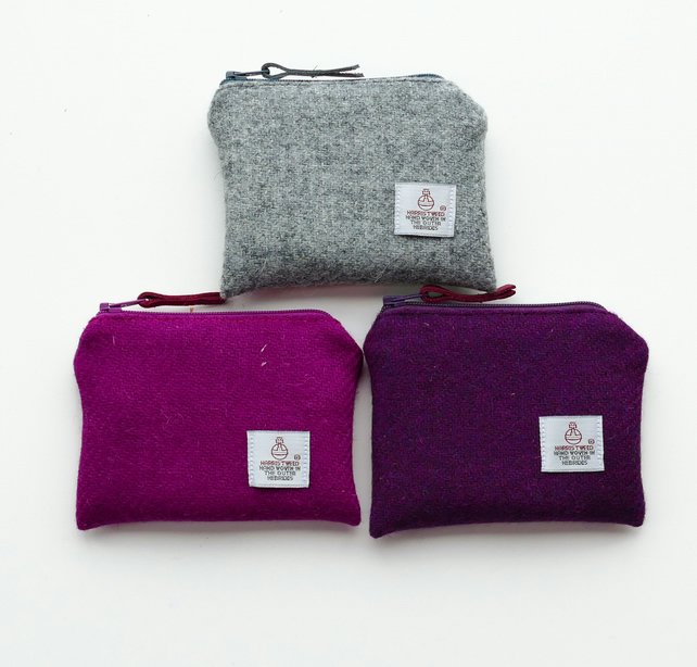 Pink or grey HARRIS TWEED purse - Scottie dog lining