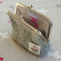 Grey Harris Tweed coin purse with scottie dog lining