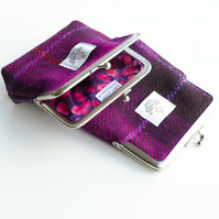 HARRIS TWEED coin purse, fuchsia tartan