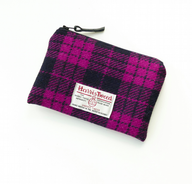 Pink and black tartan makeup bag, HARRIS TWEED