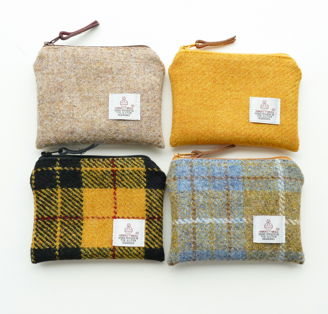 Yellow purses - HARRIS TWEED - choice of 4 colours
