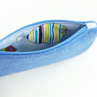 Blue HARRIS TWEED pencil case, tropical fish lining, back to school gift