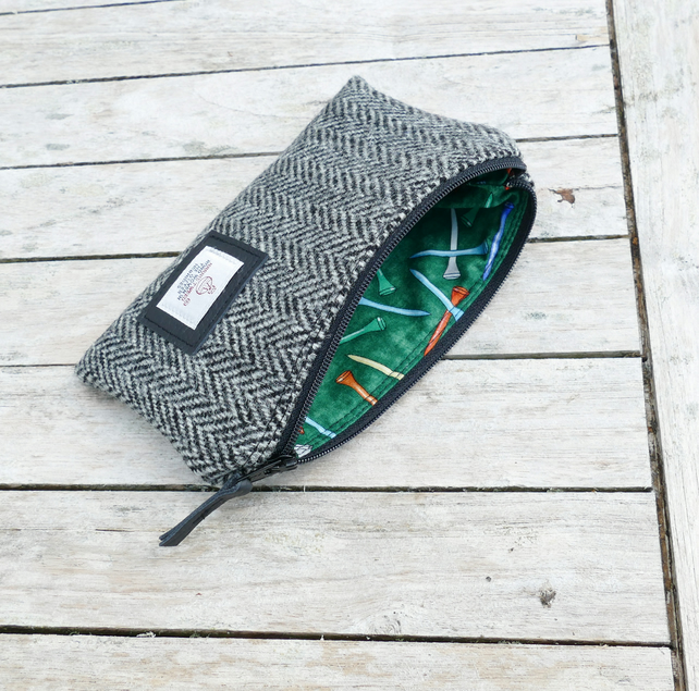 Harris Tweed Golf Tees pouch - great gift for golfers