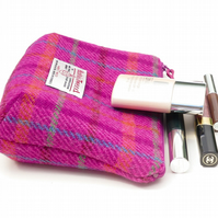 Pink tartan HARRIS TWEED makeup bag, cosmetics case , purse organiser