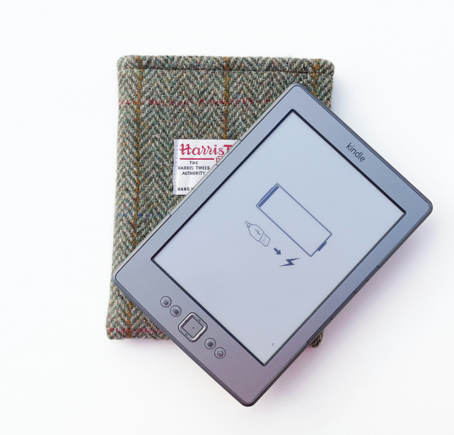 Kindle sleeve in brown and green herringbone Harris Tweed