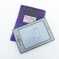 Kindle sleeve in purple and blue tartan HARRIS TWEED, made to fit any Kindle