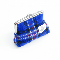 Blue tartan HARRIS TWEED coin purse, clasp purse, handmade in Scotland