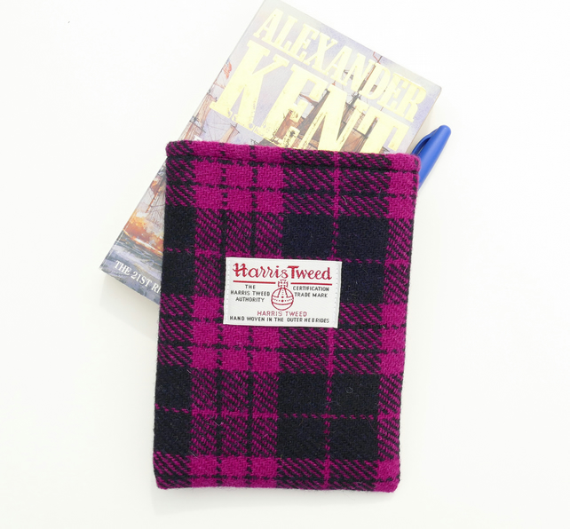 Kindle cover in pink and black Harris Tweed, lightly padded