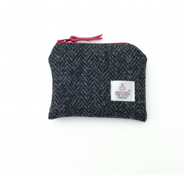 HARRIS TWEED coin purse in black and grey herringbone