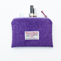 Purple makeup bag, HARRIS TWEED, small wool pouch