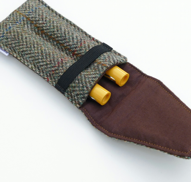 Fountain pen padded holder, HARRIS TWEED Taransay herringbone