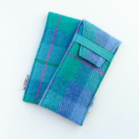 HARRIS TWEED glasses case, blue and green tartan