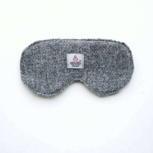 Grey HARRIS TWEED sleep mask, eye mask or travel mask, gift for men