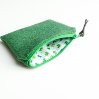 Green HARRIS coin or change purse, St Patrick's Day gift