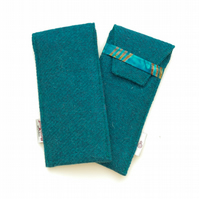Teal HARRIS TWEED glasses case, padded, Handmade in Scotland