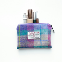 Pink tartan HARRIS TWEED makeup pouch, great gift for women