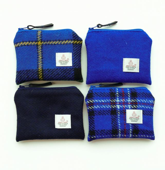 Blue purses - HARRIS TWEED - choice of 4 colours