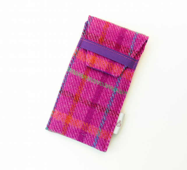 HARRIS TWEED glasses case, magenta and pink tartan