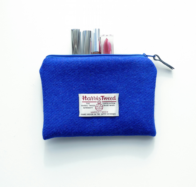 Blue makeup bag, HARRIS TWEED, small wool pouch