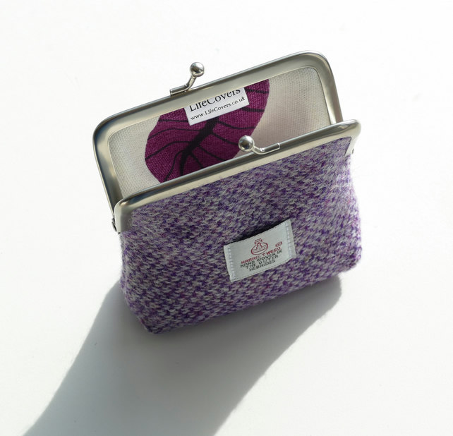 Purple HARRIS TWEED clasp purse