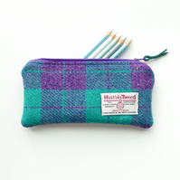 Purple and jade green HARRIS TWEED pencil case