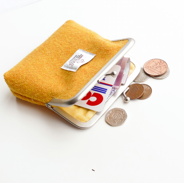 Yellow HARRIS TWEED coin purse