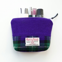 Purple tartan HARRIS TWEED Makeup bag