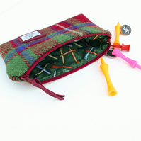 Golf Tee pouch, McKinnon HARRIS TWEED - great gift for golfers, made in Scotland