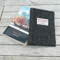 HARRIS TWEED Kindle cover, black and grey herringbone, made to fit any Kindle