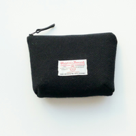 Black HARRIS TWEED makeup bag, cosmetics case , purse organiser