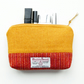 Yellow-orange Makeup bag, HARRIS TWEED, 7th anniversary gift for woman