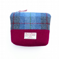 Blue tartan and burgundy Harris Tweed large makeup bag, small toiletries case