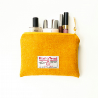 Yellow makeup bag, HARRIS TWEED, small wool pouch