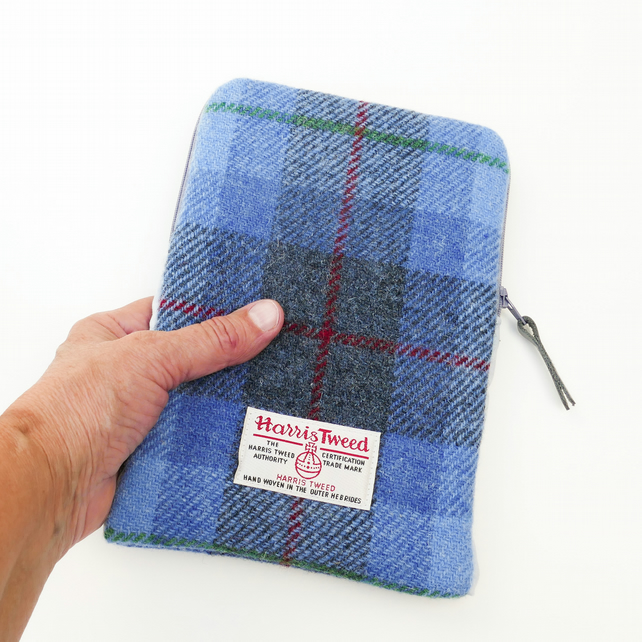 HARRIS TWEED iPad, iPad Pro or Kindle zipped case, blue and grey tartan