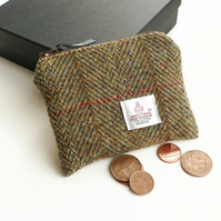 Small HARRIS TWEED purse, brown - ochre herringbone, great gift for men or women