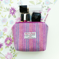 Pretty pink makeup bag, HARRIS TWEED, hand woven in the Outer Hebrides