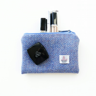 Small blue HARRIS TWEED makeup bag, water resistant lining