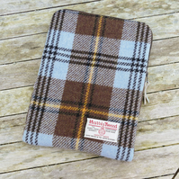 iPad cover in 'Harris Tweed' tartan, zipped and padded, brown and blue check