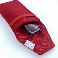 Glasses case, red HARRIS TWEED, lightly padded, great gift for Grandparent!