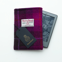 Kindle sleeve, fuchsia pink HARRIS TWEED