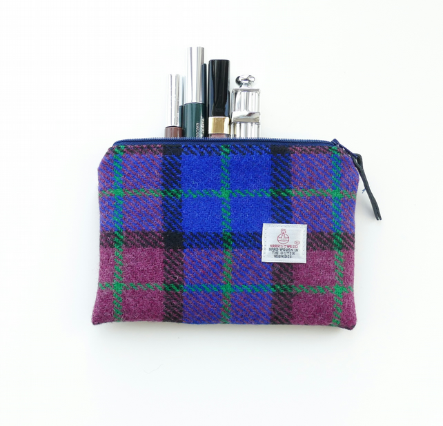 Blue and cherry pink Harris Tweed makeup pouch, great gift for women