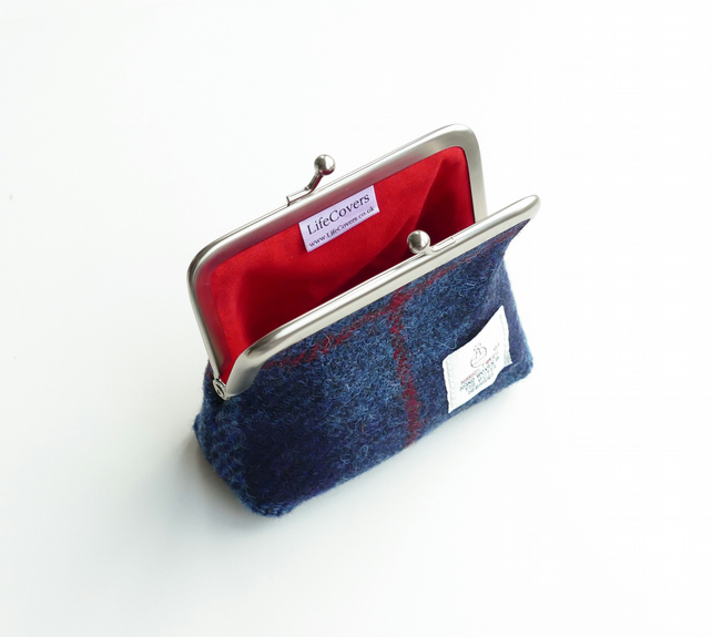 Navy HARRIS TWEED coin purse, small purse