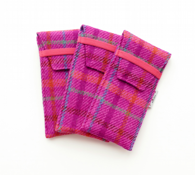 HARRIS TWEED glasses case, bright pink tartan