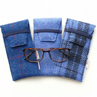 Blue glasses case, HARRIS TWEED specs cover, gift for grandparent, handwoven