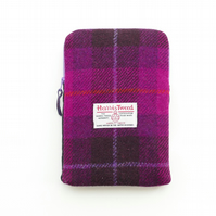 iPad mini cover in fuchsia pink 'Harris Tweed' tartan, zipped and padded