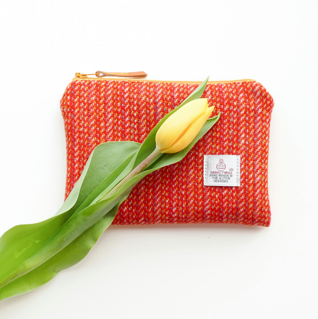 Orange HARRIS TWEED makeup bag, made in Scotland