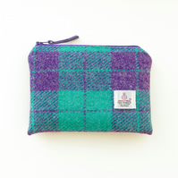 Small makeup bag, purple and jade HARRIS TWEED, handmade